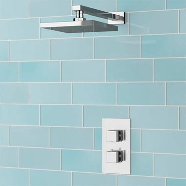 Delilah Concealed Thermostatic Shower Valve & ABS Fixed Shower Head - 345mm Wall Shower Arm